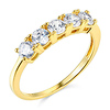 5-Stone Basket Prong Round CZ Wedding Band in 14K Yellow Gold 1.1ctw