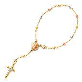 3mm Moon-Cut Bead Our Lady of Guadalupe Rosary Bracelet in 14K Tricolor Gold