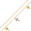 14K Yellow Gold CZ Dangling Cross Charm Bracelet