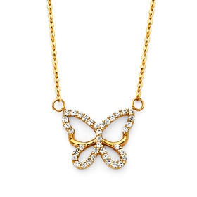Floating Open CZ Butterfly Charm Necklace - 14K Yellow Gold