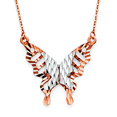 Two Tone Floating Butterfly Necklace in 14K Rose Gold