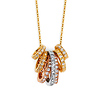 14K Tricolor gold Stackable CZ Eternity Charm Necklace