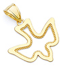 Open Cut Milgrain Dove Charm Pendant in 14K Yellow Gold