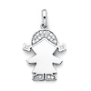 CZ Pigtails Little Girl Charm Pendant in 14K White Gold - Petite