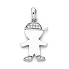 CZ Capped Little Boy Charm Pendant in 14K White Gold - Petite