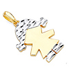 Faceted Pigtails Little Girl Charm Pendant in 14K Two-Tone Gold - Petite