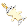 Faceted Capped Little Boy Charm Pendant in 14K Two-Tone Gold - Petite