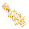 Girl With Teddy Bear Charm Pendant in  14K Yellow Gold - Petite