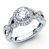 14K White Gold Infinity Halo 1CT Round Diamond Engagement Ring 1.81ctw