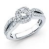 Halo Loop Shank Round Diamond Engagement Ring - 14K White Gold 1.21ctw