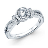 14K White Gold Split Shank Halo Round Diamond Engagement Ring 1.14ctw