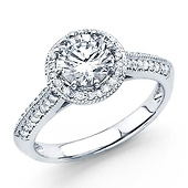 14K White Gold Knife-Edge Halo 1.0ct Round-Cut Engagement Ring 1.42ctw