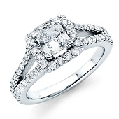 Halo Split Shank 1CT Princess Diamond Engagement Ring - White Gold 1.7ctw