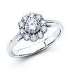 Flower Halo Round Cut Diamond Engagement Ring 14K White Gold .93ctw