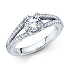 Classic Split Shank Round Cut Diamond Engagement Ring - 14K White Gold 1.4ctw