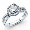 14K White Gold Split Shank Halo 1CT Round Diamond Engagement Ring 1.61ctw