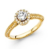 14K Yellow Gold Knife-Edge Halo Round-Cut Diamond Engagement Ring .9ctw