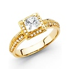 Deco Inspired 14K Yellow Gold Halo Princess-Cut Engagement Ring .76ctw