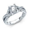 2-Strand Knot Round Diamond Engagement Ring - 14K White Gold 1.32ctw