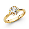 Classic 14K Yellow Gold Halo Round-Cut Diamond Engagement Ring .82ctw