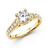 Trellis Round Diamond Engagement Ring & Side Stones - 14K YG 1.32 ctw