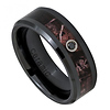 8mm Beveled Black Ceramic Forest Camo Ring with Black Diamond - Men