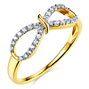 Flourish Round Cubic Zirconia Infinity Ring in Two-Tone 14K Yellow Gold - Women