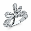 Dazzling CZ Double Ribbon Bow Cocktail Ring in Sterling Silver Rhodium
