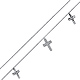 Dangling Faceted CZ 3 Cross Charms 14K White Gold Bracelet 7in thumb 0