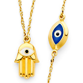 Hamsa and Floating Evil Eye Necklace in 14K Yellow Gold 17in