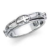 Spinning Cross Prayer Rosario Rosary Ring in Sterling Silver Rhodium
