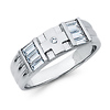 5mm CZ Cross Christian Wedding Band in Sterling Silver Rhodium