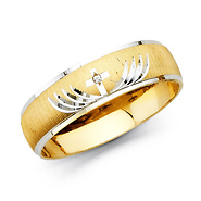 satin polished carved cz christian cross wedding band 14k two tone gold - Cross Wedding Rings