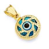 14K Yellow Gold Circle Evil Eye Pendant Charm