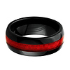 Dome Ceramic Wedding Band Ring with Red Carbon Fiber Inlay 8mm - Men