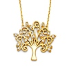 Whimsical Tree of Life Pendant Necklace with CZs in 14K Yellow Gold