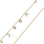 Good Luck CZ Charm Bracelet in 14K Yellow Gold - Women