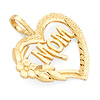Mom Heart Pendant with Flower in 14K Yellow Gold - Mini