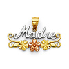 Madre Pendant with Flowers in 14K Tricolor Gold - Petite