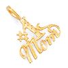 Etched #1 Mom Charm Pendant in 14K Yellow Gold - Mini