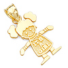 It's a Girl Charm Pendant in 14K Yellow Gold - Petite