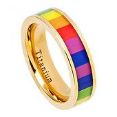 6mm Gay Pride Rainbow Ring - Yellow Gold IP Titanium