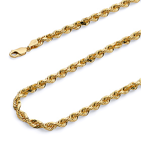 f4bfc36e0fd09 4.5mm 14k Yellow Gold Men's Rope Chain Bracelet 8.5in