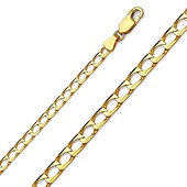 3.5mm 14K Yellow Gold Square Curb Cuban Link Chain Bracelet 7.5in