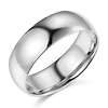 7mm Classic Light Dome Men's Wedding Band - 14K White Gold