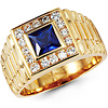 14K Yellow Gold Royal Blue CZ Ring