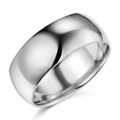 8mm Classic Light Dome Men's Wedding Band - 14K White Gold