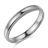 3mm Classic Light Dome Milgrain Wedding Band - 14K White Gold