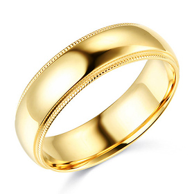 6mm Classic Light Dome Milgrain Wedding Band - 14K Yellow Gold