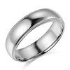 6mm Classic Light Dome Milgrain Wedding Band - 14K White Gold